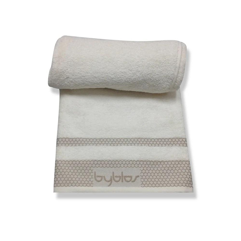 Telo bagno in puro cotone con lavorazione logo in jacquard panna  Byblos Spugne  Acquista su