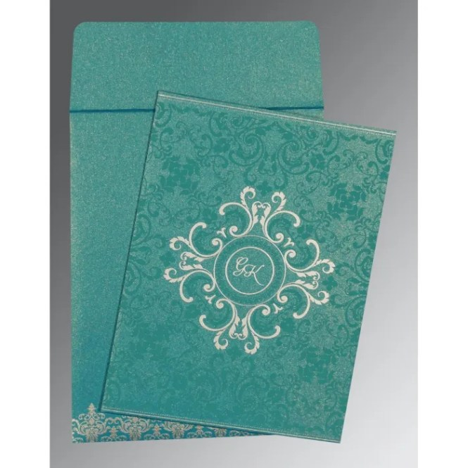 Teal Blue Shimmery Screen Printed Wedding Card C 8244c 123weddingcards