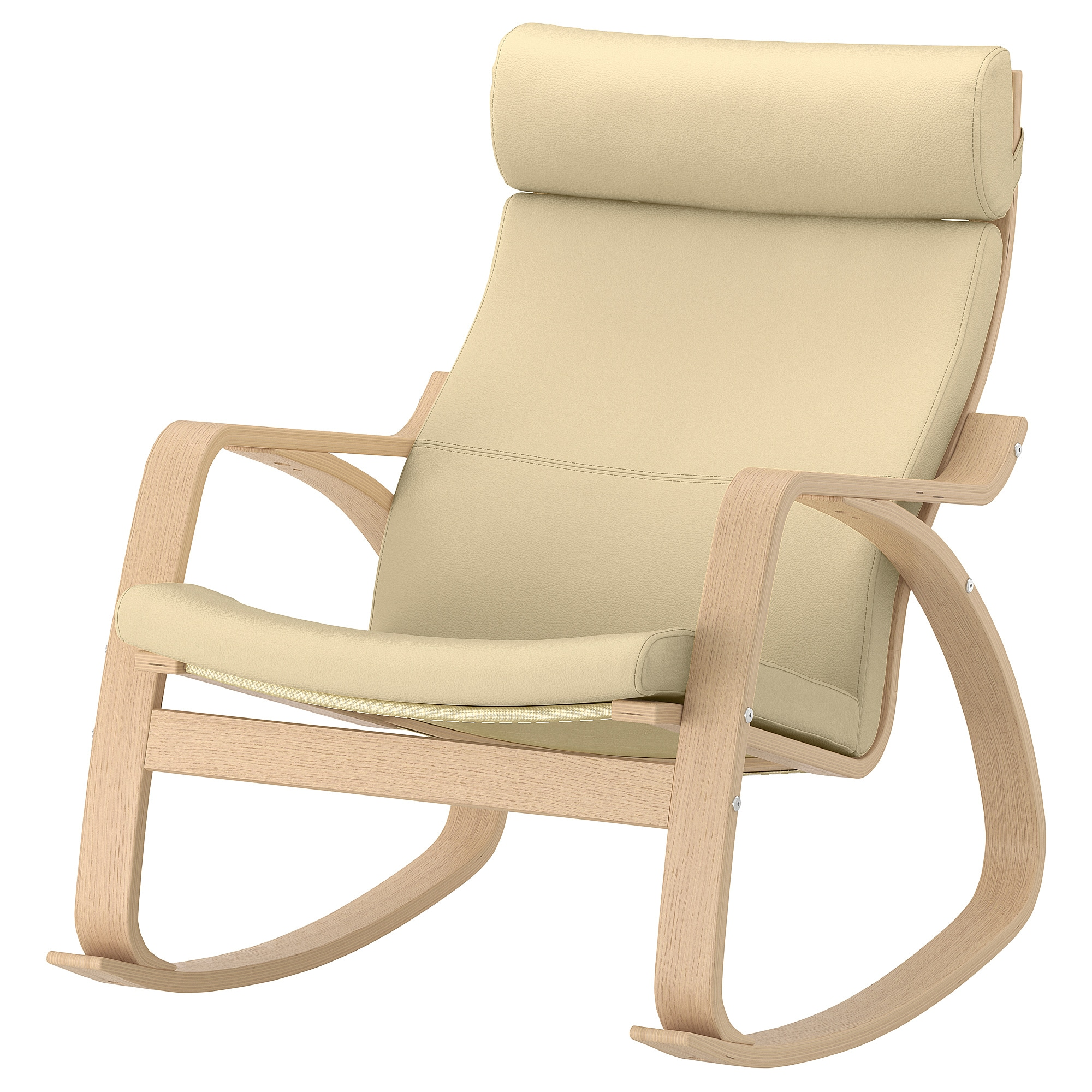 Eggshell Chair Rocking Chair PoÄng White Stained Oak Veneer Glose Eggshell