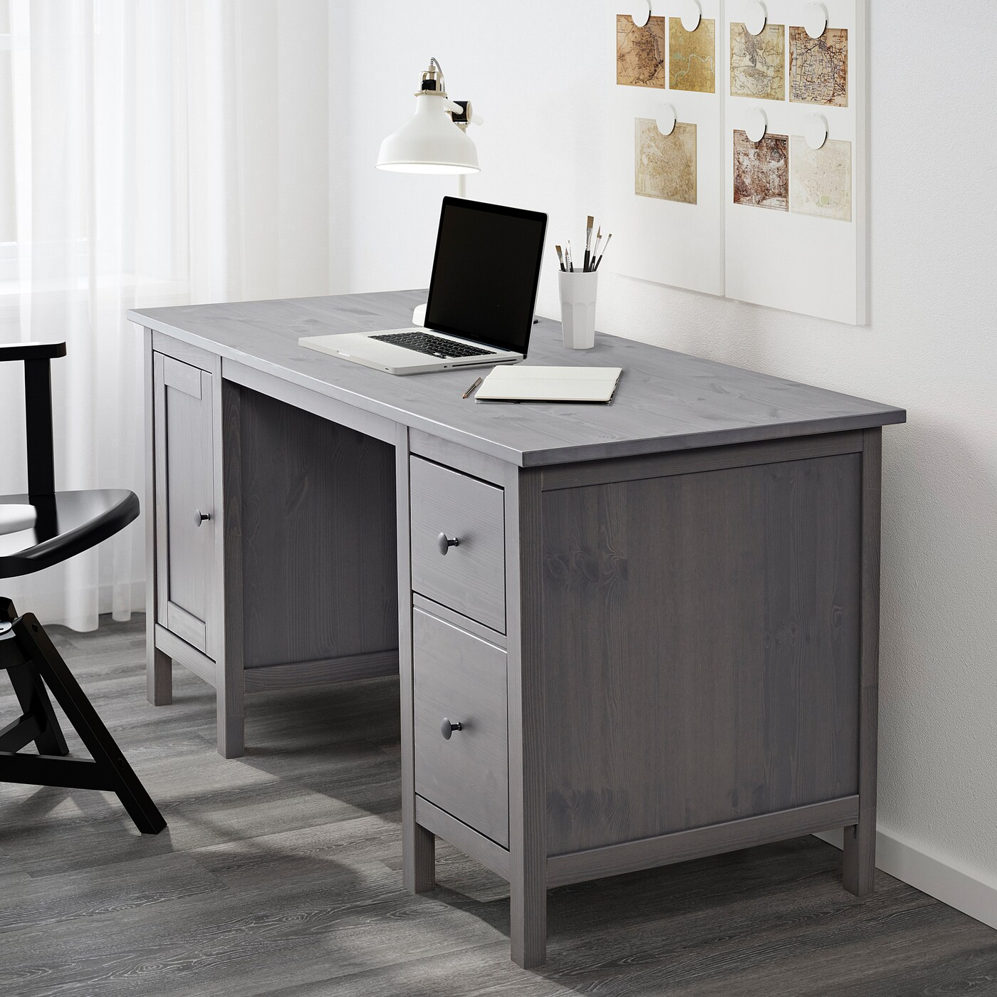 Hemnes Desk Dark Gray Stained 61x255 8