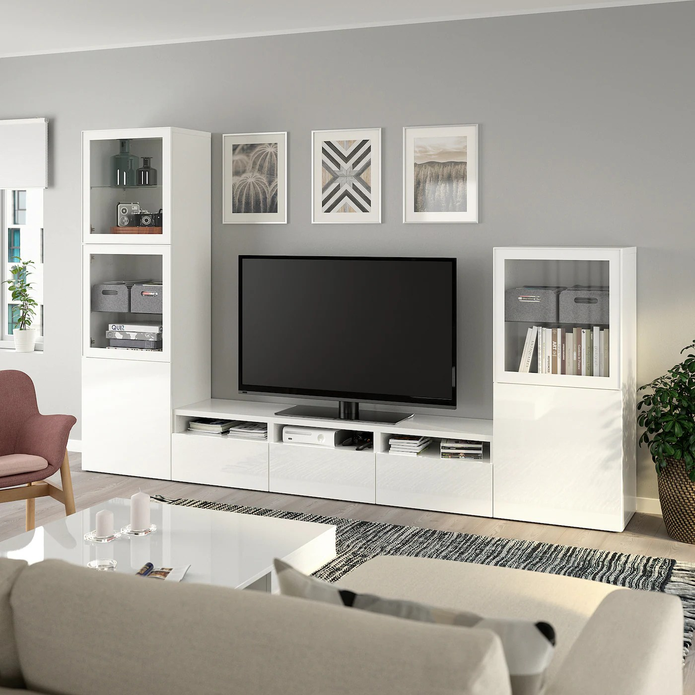 Tv In Wand BestÅ Tv Storage Combination/glass Doors, White, Selsviken High-gloss/white Clear Glass, 300x42x193 Cm. View Now! - Ikea