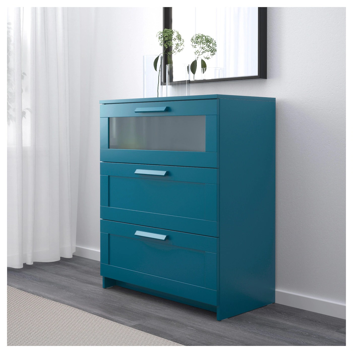 cf8c89ce2a4a Brimnes Chest Of 3 Drawers Dark Green-blue/frosted Glass
