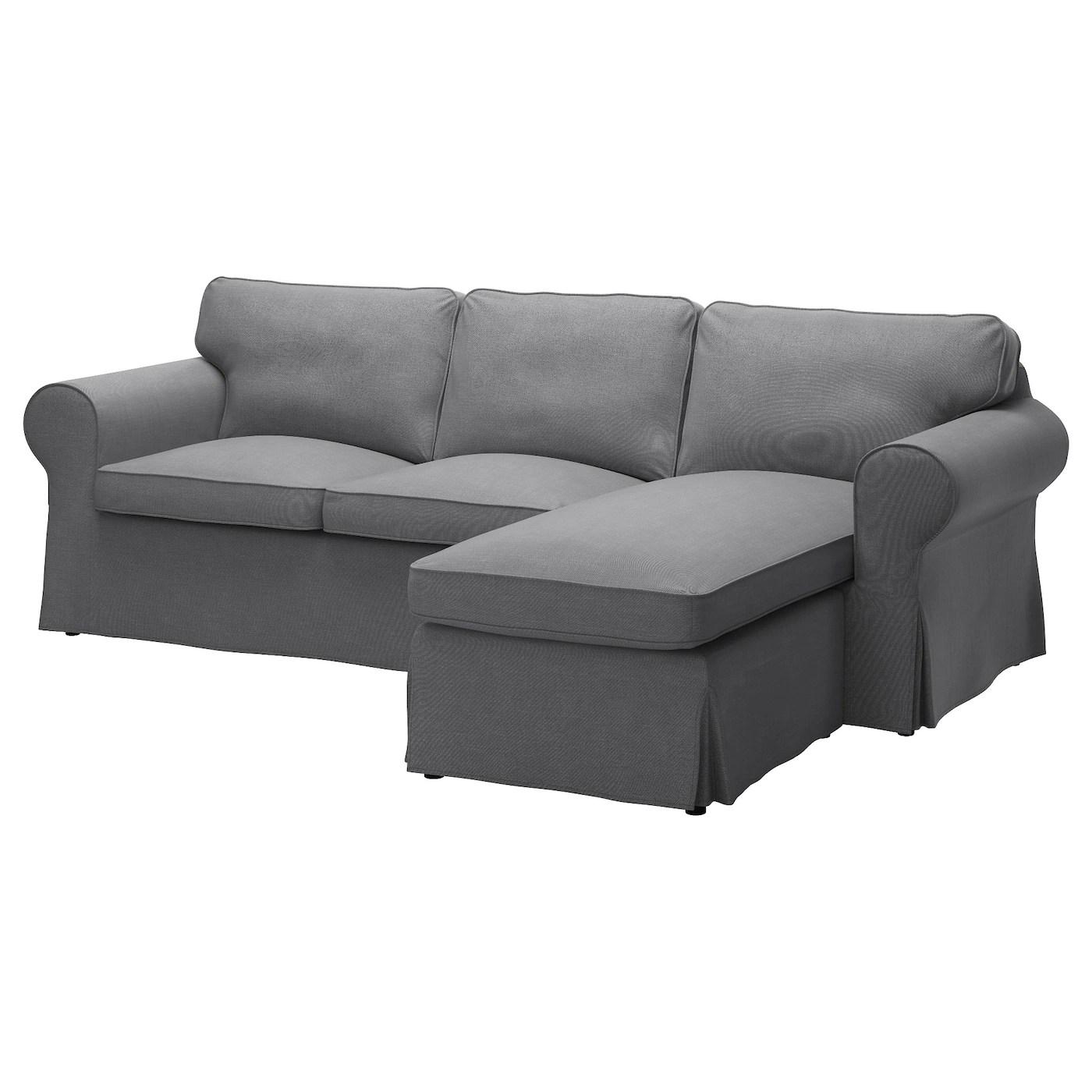 Ektorp Twoseat Sofa And Chaise Longue Nordvalla Dark Grey