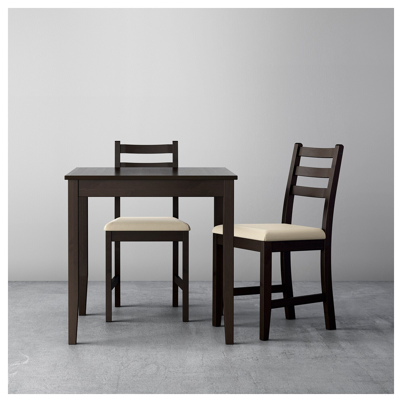 Table With 2 Chairs Lerhamn Table And 2 Chairs Black Brown Ramna Beige 74 X 74 Cm Ikea