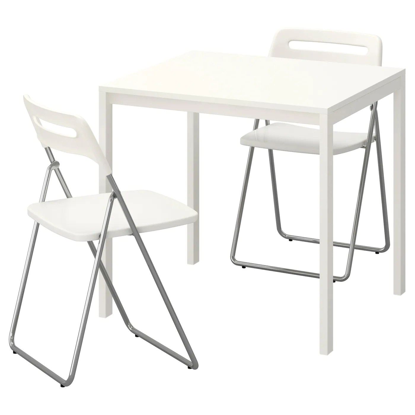 Folding White Chairs Nisse Melltorp Table And 2 Folding Chairs White White 75