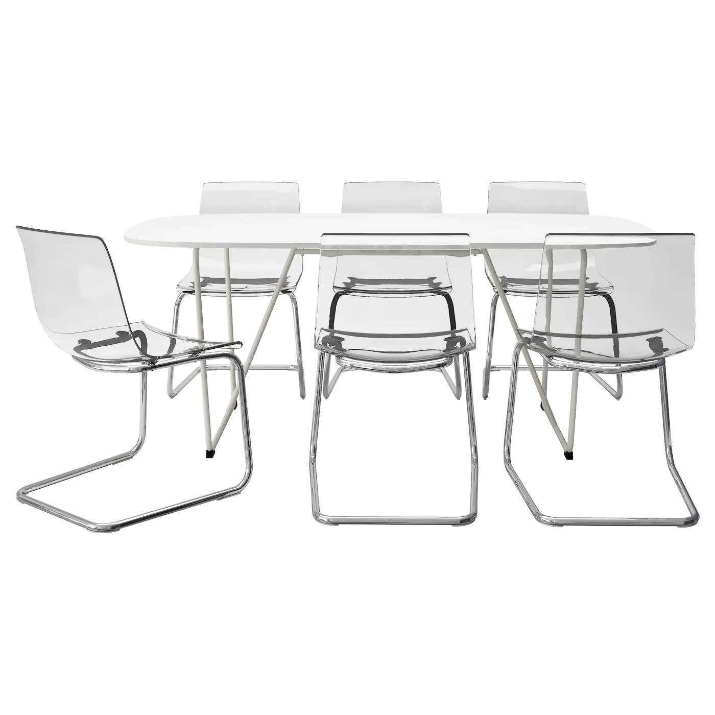 Tobias Chair Ikea Oppeby Backaryd Tobias Table And 6 Chairs White Chrome