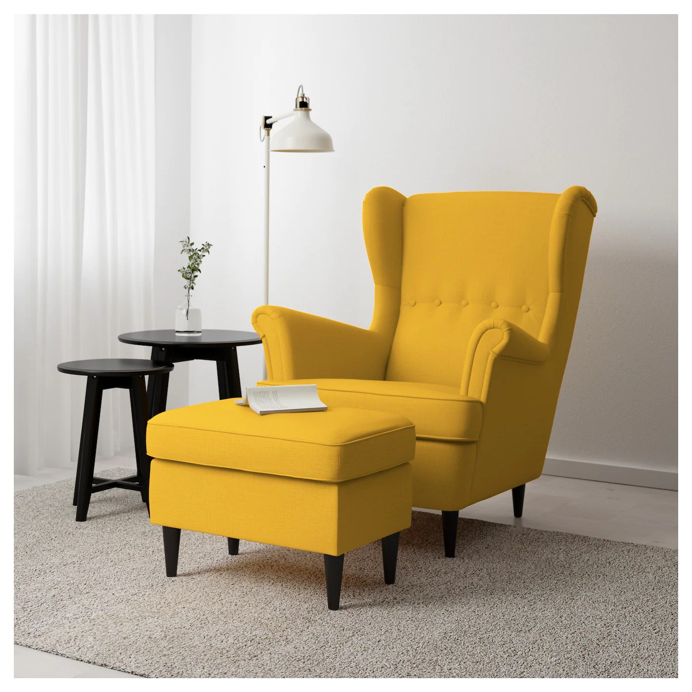 Yellow And Grey Accent Chair Strandmon Footstool Skiftebo Yellow Ikea
