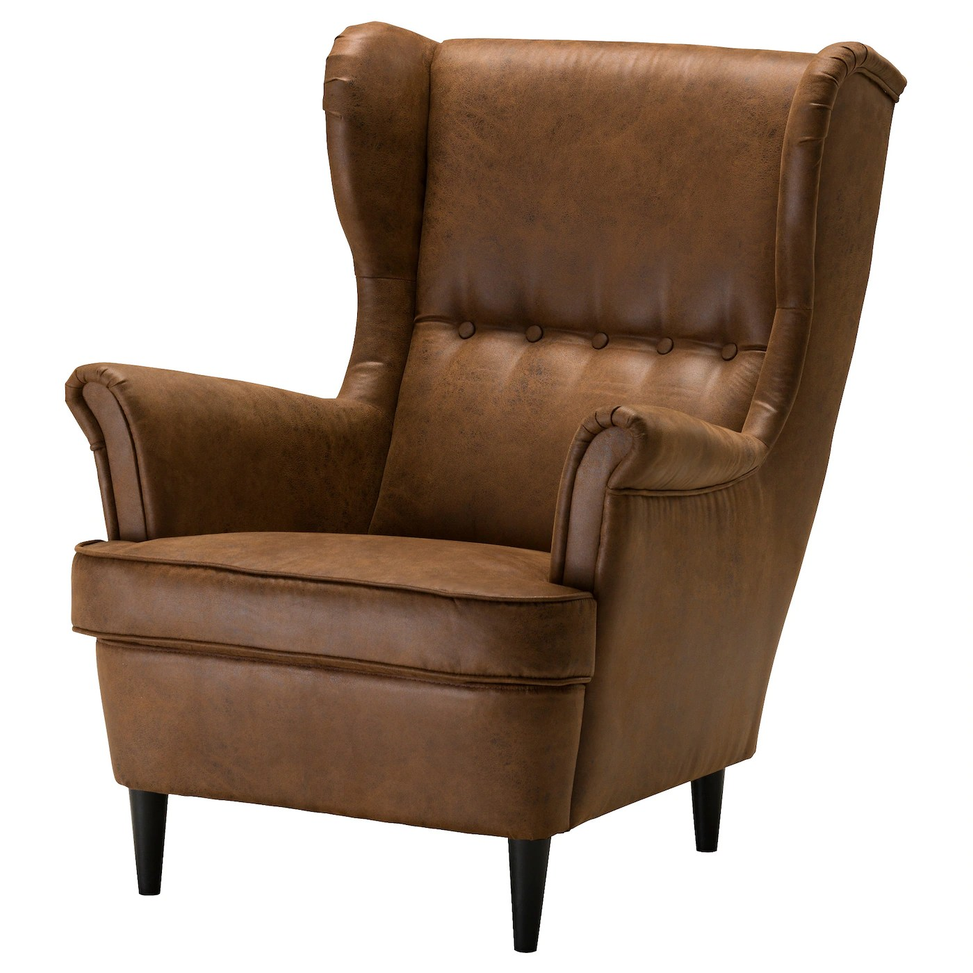 Brown Leather Chairs Strandmon Wing Chair Järstad Brown