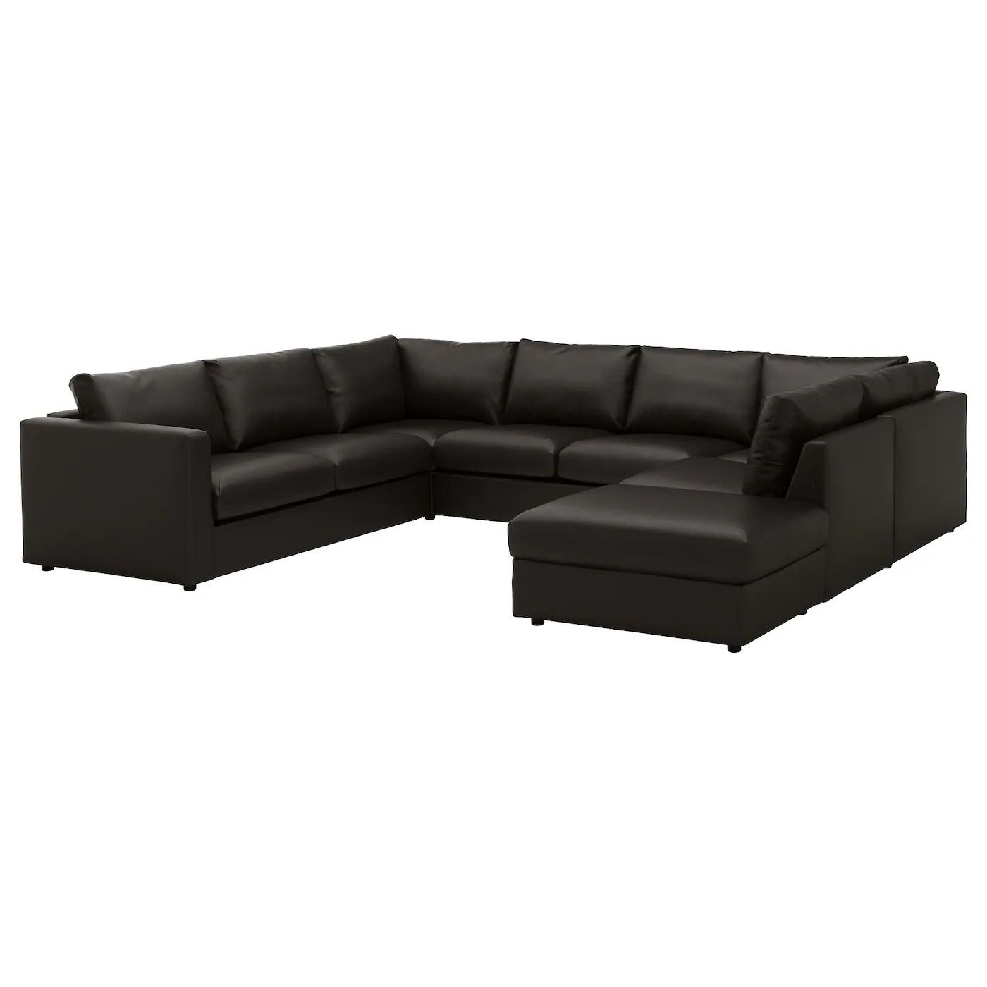 u sofa italia leather vimle shaped 6 seat with open end farsta black ikea