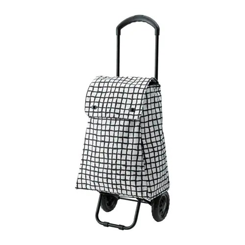 Chariot Courses Ikea Knalla Shopping Bag With Wheels - Black/white - Ikea