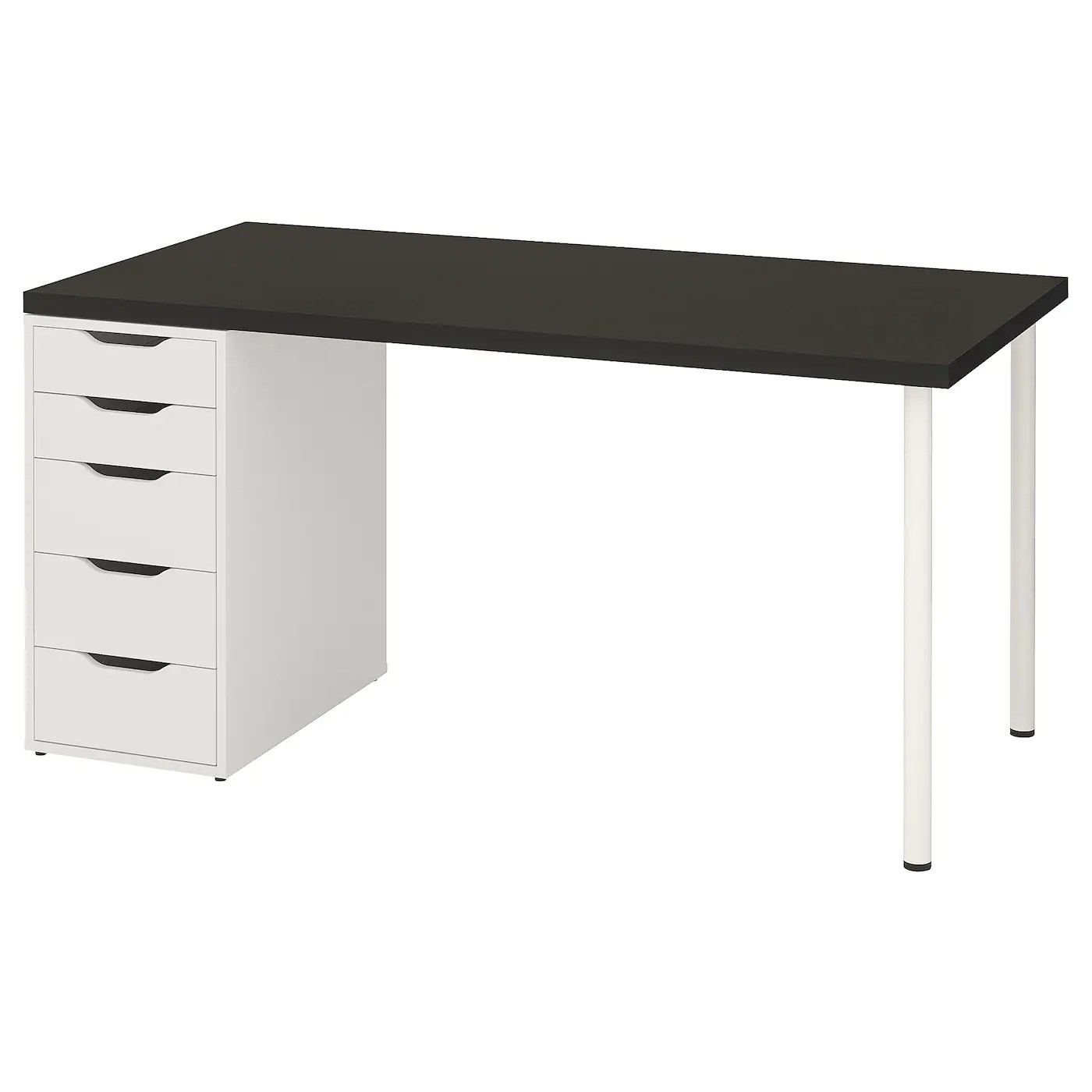 Linnmon Alex Table Black Brown White 59x29 1 2