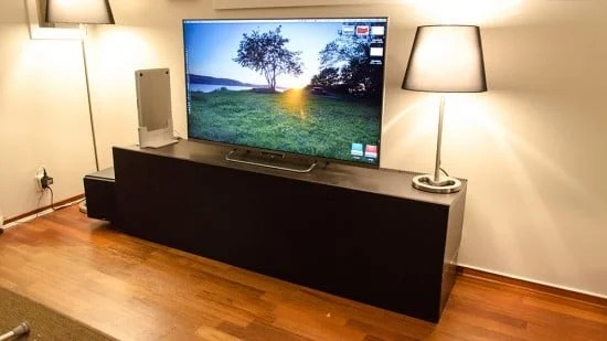 Elevated and concealed Besta media cabinet  IKEA Hackers