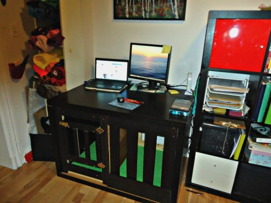 Expedit Dog Crate Amp Multipurpose Desk Ikea Hackers