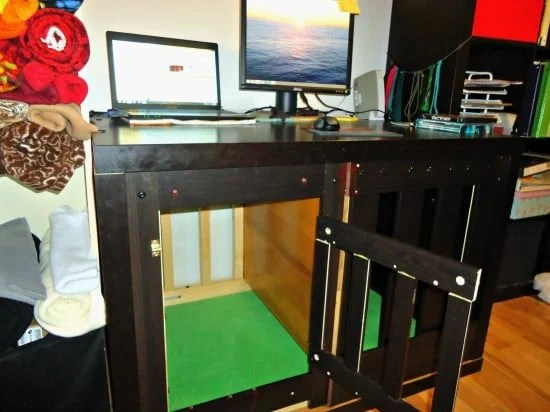 Expedit Dog Crate Amp Multipurpose Desk Ikea Hackers
