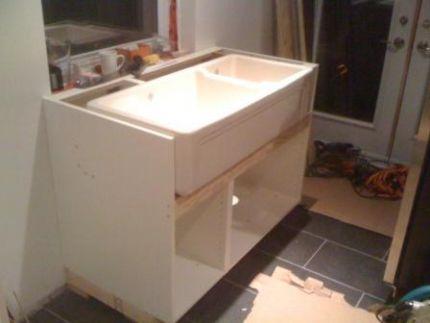 farmhouse sink into ikea kitchen