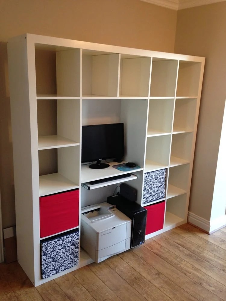 expedit shelving computer desk hack ikea hackers. Black Bedroom Furniture Sets. Home Design Ideas