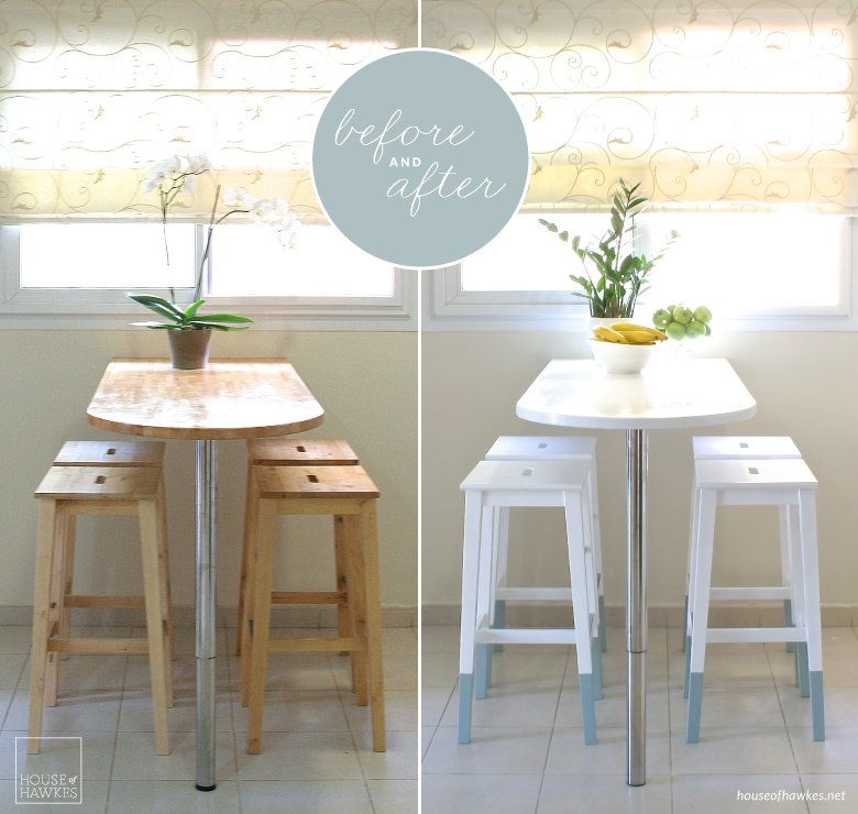 ikea kitchen chair art for mini makeover paint dipped chairs hackers hack before and after a