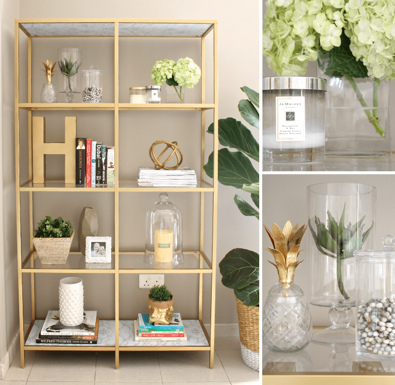 transform a vittsj shelving unit into an elegant gold book shelf ikea hackers. Black Bedroom Furniture Sets. Home Design Ideas
