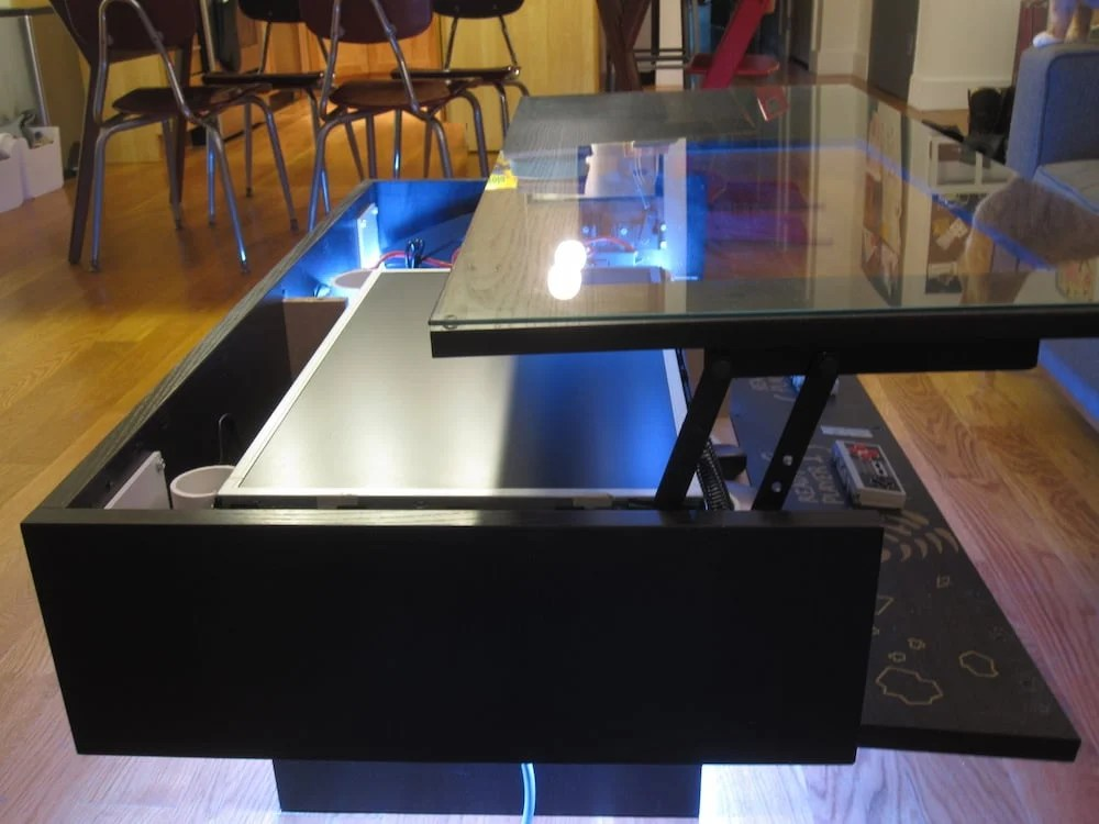 Retractable Power Cord >> My Ramvik Arcade Table with Lift and Lock table top - IKEA Hackers