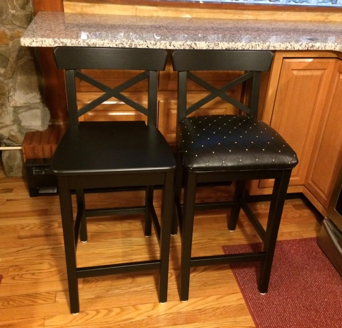 ikea chair cushions shell knock off drab to fab ingolf bar stools - hackers