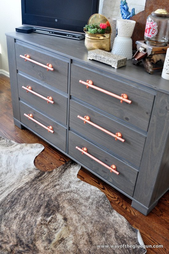 Diy Copper Drawer Pulls Update An Ikea Dresser