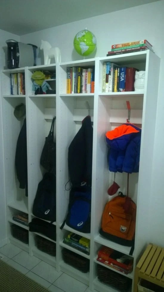 entryway cubbies IKEA BILLY hack