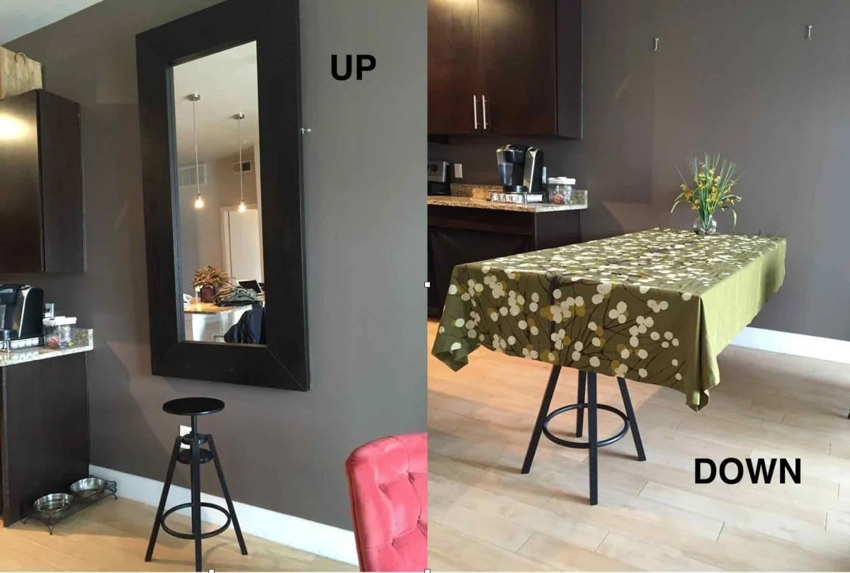 hideaway kitchen table faucet clearance a dining using ikea mirror hackers 2 way