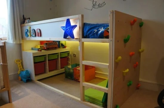 Elegant Kids Bed Climbing Wall