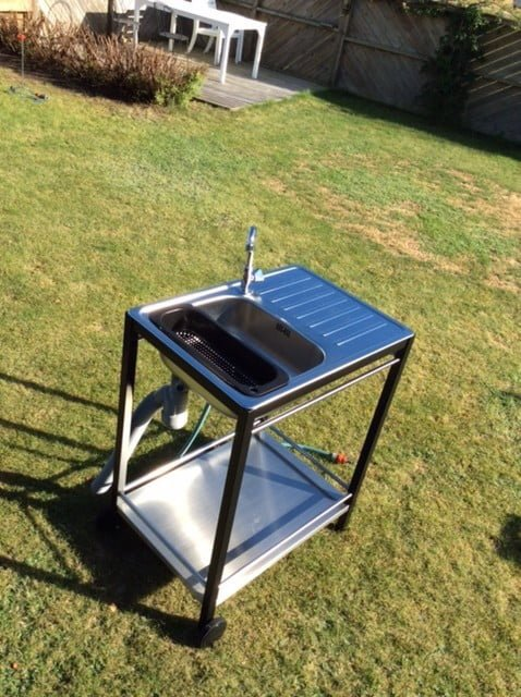 Mini outdoor sink from IKEA trolley and sink - IKEA Hackers on Outdoor Patio Sink id=59415