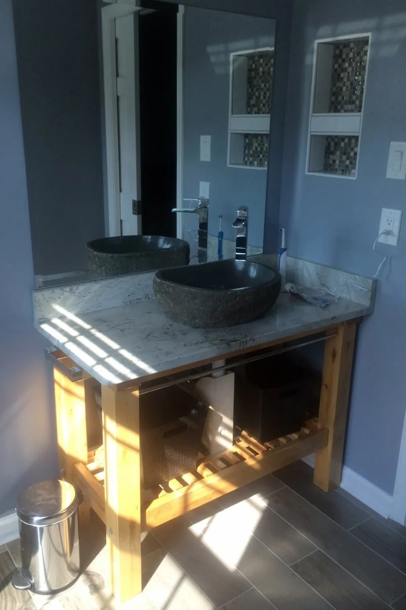Great IKEA Groland Kitchen Island makes a handsome Granite topped Bathroom Vanity