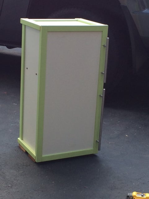 Toy storage crate turns into play fridge ikea hackers for Ikea chest freezer