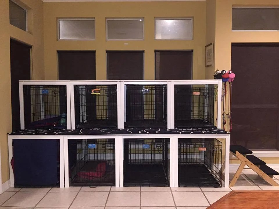 IKEA Kitchen tables converted to Canine Condo