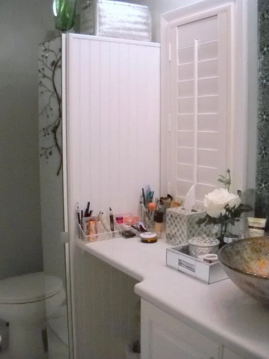 Narrow bathroom cabinet with tons of storage