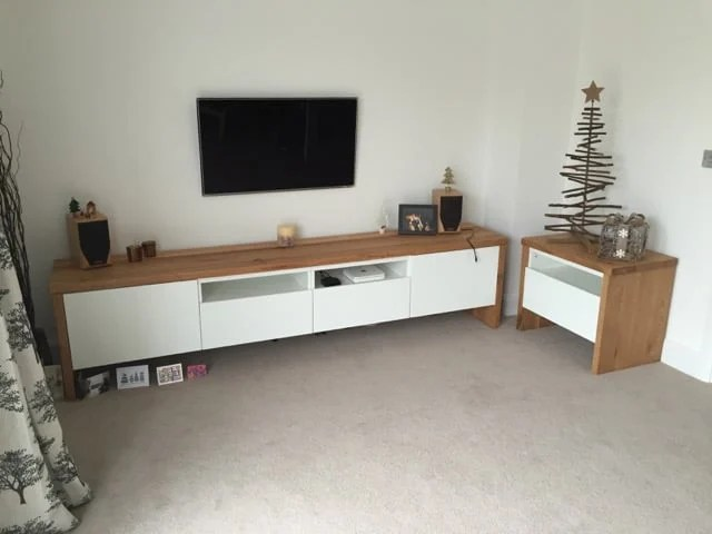 BEST TV Unit with Oak wrap around  IKEA Hackers