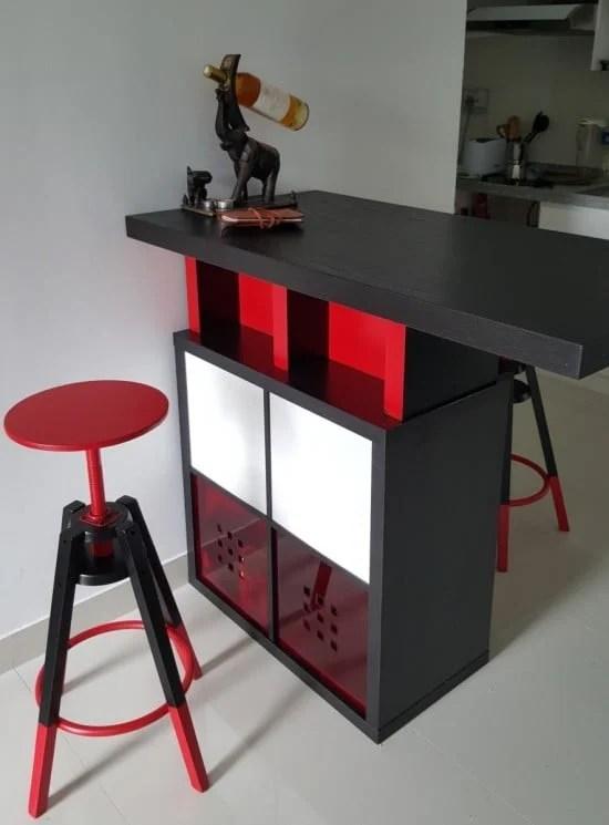 Bar high dining table with kallax shelves ikea hackers - Table haute bar ikea ...