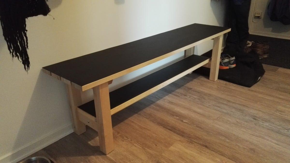 Ikea norden bench upgrade for landing space ikea hackers for Linoleum ikea
