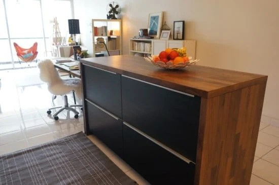 KARLBY worktop with TINGSRYD drawer fronts