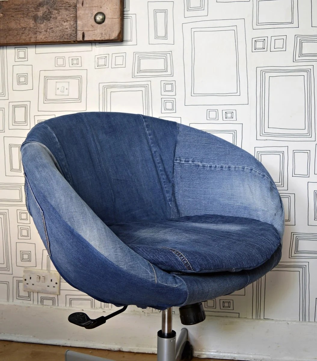great transformation of an ikea skruvsta chair using old jeans ikea hackers. Black Bedroom Furniture Sets. Home Design Ideas