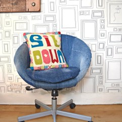 Skruvsta Swivel Chair Desk Inexpensive Great Transformation Of An Ikea Using Old Jeans With Denim Slipcover