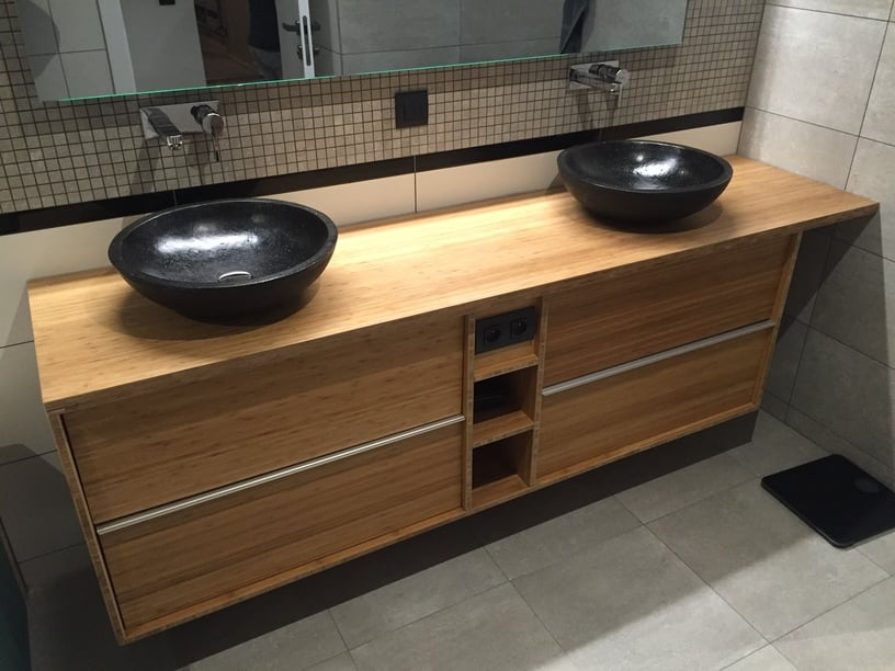 Fancy Custom bamboo bathroom furniture with GODMORGON