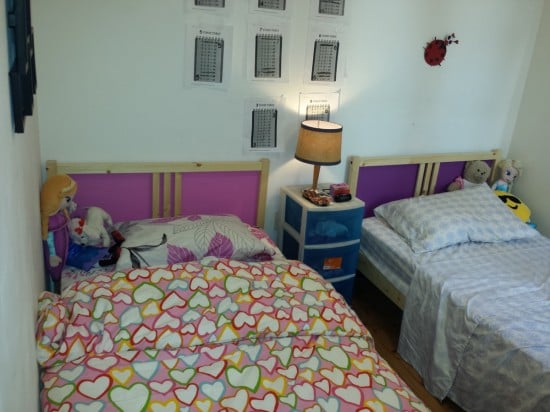 FJELLSE bed upgrade with pink and purple headboards