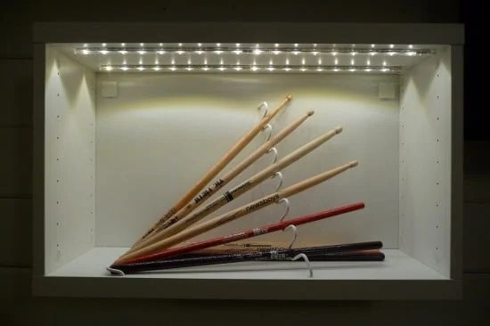 Drum sticks display with STAJLIG, BESTÅ and DIODER