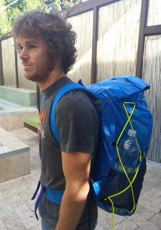 DIY IKEA Ultralight Backpacking pack from IKEA FRAKTA blue bag