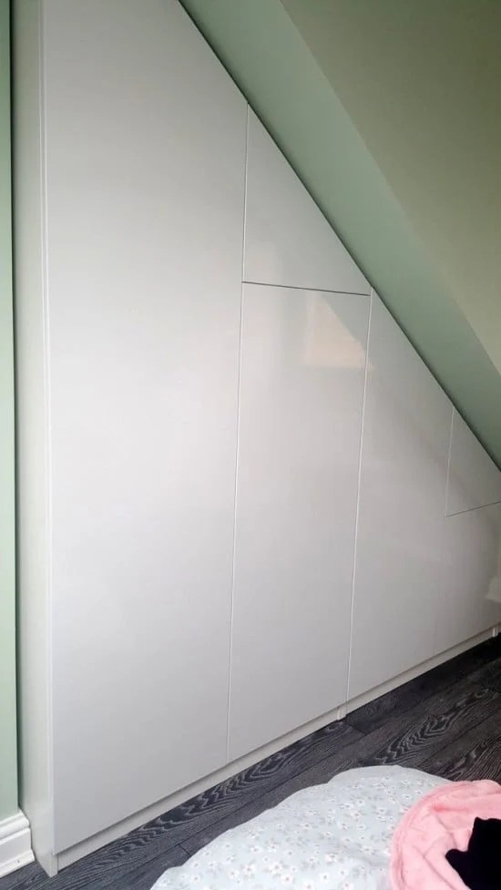 A Classy High Gloss Bespoke Loft Wardrobe (Under Eaves)