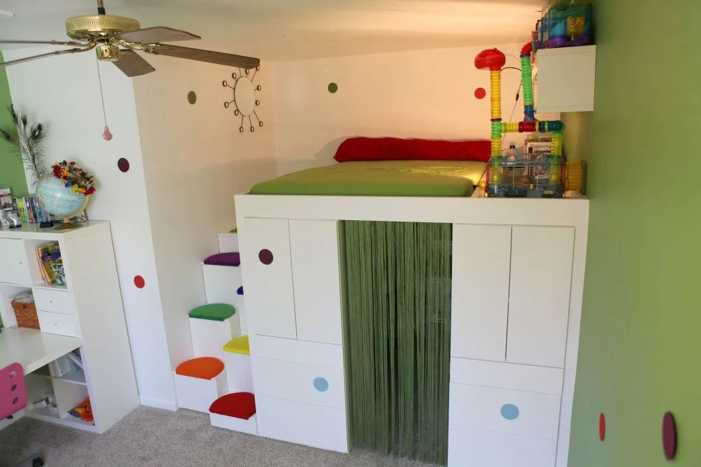 Hack A Loft Bed With Den Using IKEA AKURUM Kitchen Cabinets