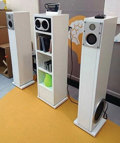 Stereo System from 12 IKEA EKBY shelves