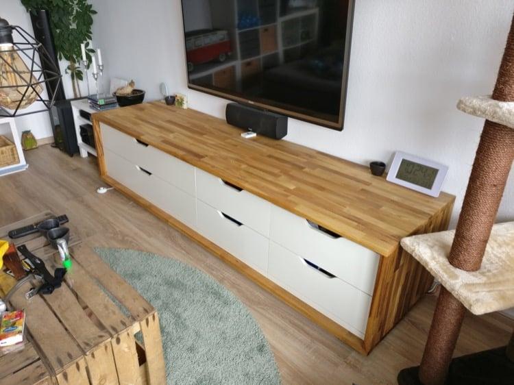 Long wooden TV stand IKEA Stolmen hack