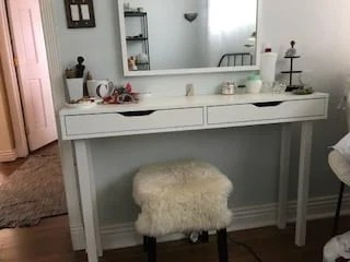 modern makeup table with 4 drawers for storage ikea hackers. Black Bedroom Furniture Sets. Home Design Ideas