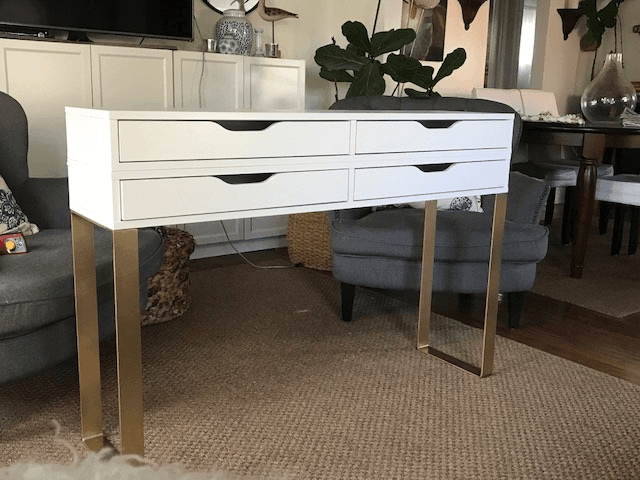 stunning diy a modern makeup table with drawers for storage with nissedal ikea. Black Bedroom Furniture Sets. Home Design Ideas