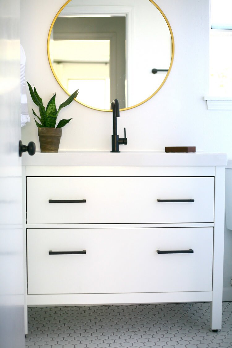 ikea hemnes bathroom cabinet hemnes black and white vanity makeover ikea hackers 18842
